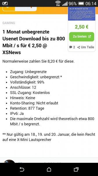 1 Monat Usenext Download für 2,50€ (800 mbits)