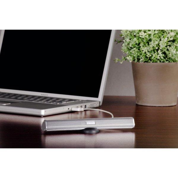"""[ Blitzangebot bei Amazon.de] Hama USB-Notebook-Lautsprecher """"Sonic Mobil 250"""" (mit Tasche und Standfuß) silber für 15 Euro"""