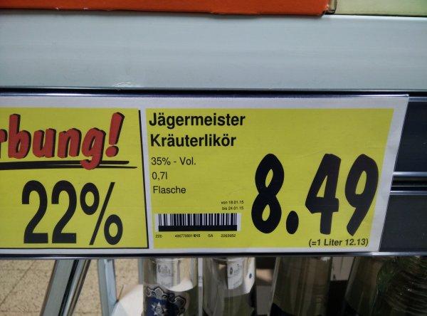 Jägermeister 0,7l für 8,49€ im Kaufland [Lokal, Nürnberg]