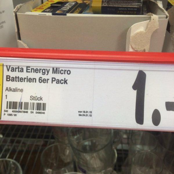 6er Pack Varta AA oder AAA Batterien für 1€ @Kaufland