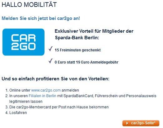 Berlin Car2go: 0 EUR Registrierungsgebühr (statt 19 EUR) als Mitglied der Sparda-Bank