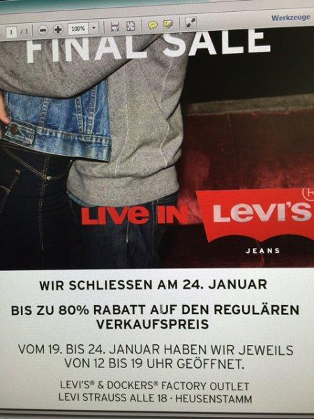 [Lokal nähe Frankfurt] Ausverkauf wg Geschäftsauflösung bei Levi Strauss in Heusenstamm: 80% Rabatt, z.B. Levi´s 501 Jeans 25€