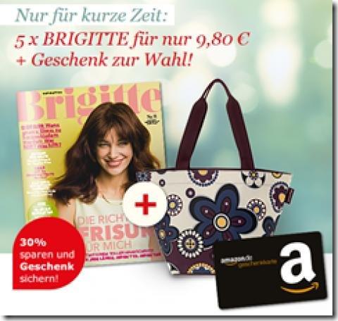 5 Ausgaben der Brigitte + 10€ Amazongutschein nur 9,90€ /EFFEKTIV UMSONST