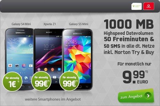 WOW! 50 Min + 50 SMS + 1GB Surf-Flat für 9,99€/Monat + Smartphone, z.B. Samsung Galaxy S5 Mini