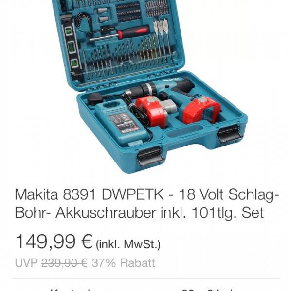 Makita akkuschlagbohrer 18V mit 2 Akkus , 101tlg!!