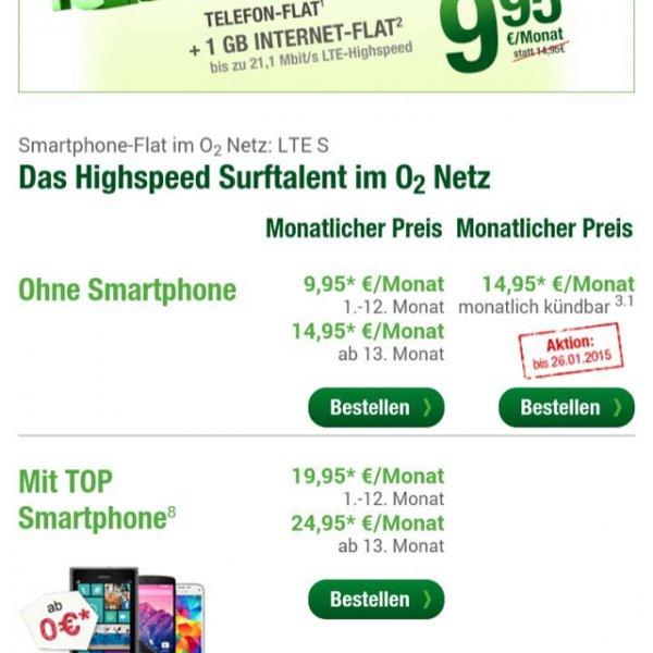 O2 allnet-Flat + 1GB LTE + OHNE Vertragslaufzeit