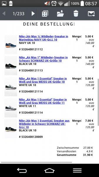 Schuhsale (vielleicht Preisfehler) bei Urban Outfitters - viele AirMax für 5€ - Converse Chucks (Creme) für 15€ + 4,90€ VSK