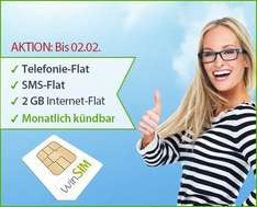 winSIM (o2) – Allnet Flat, SMS-Flat, 2GB Internet-Flatfür 17,95€