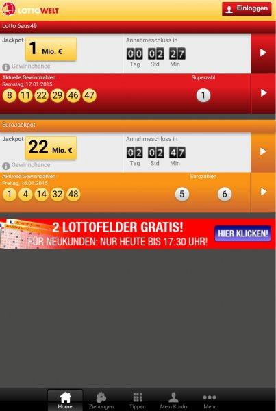 Lottowelt.de 2 Felder gratis für Neukunden (bis 17.30)