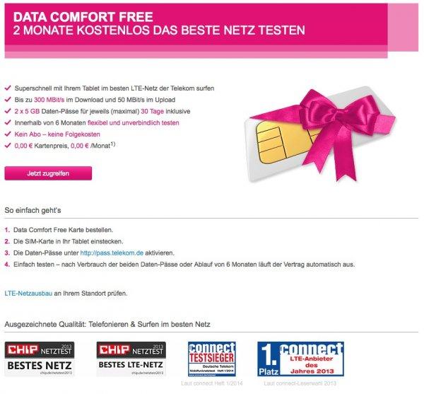 [Telekom] Zwei Monate des LTE-Netz kostenlos und unverbindlich testen! Keine Kündigung notwendig! Kein Abo! Keine Folgekosten!