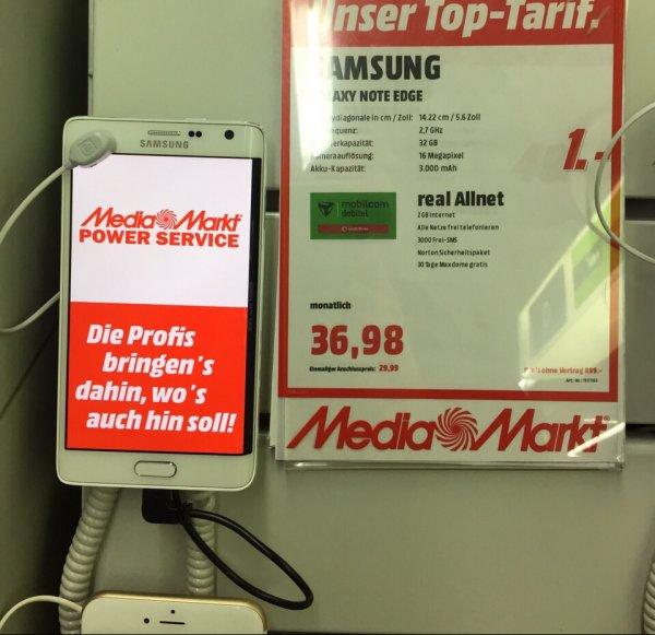 Samsung Galaxy Edge mit MobilcomDebitel Vertrag für 1€ bei 36,98 € Monatlich