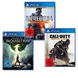 Playstation 4 Spiele Battlefield 4 Premium, Dragon Age Inquisition, Call of Duty Advanced Warfare @ebay je 45€