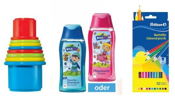 [Müller Bundesweit] Gratis: Baubecher-Set, Kinder-Duschbad, Buntstifte und Gratis-Windeln