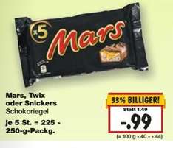 [Kaufland KW 5] Mars, Twix, Snickers 5er Pack für 0,99€