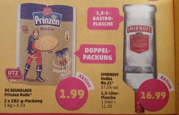 [Lokal Penny] Smirnoff Vodka 1,5l Flasche 16.99€ ; Doppelpackung Prinzen Rolle 1.99€ ; Bacardi 0,7l Flasche 8.99 Euro (nur noch bis Sa. 24.01.)