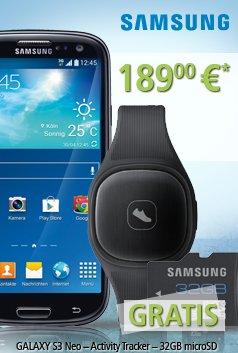 Samsung Galaxy S3 Neo +Fitness Tracker +32GB microSD für 189,- Euro inkl. Versand