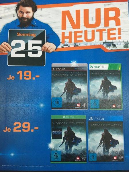 PS3 / PS4 / XBOX 360 / XBOX One Mittelerde - Mordors Schatten 19€/29€ Tagesangebot am Sonntag den 25.01 in allen Berliner Saturn Märkten