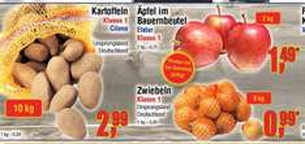 [Centershop] 5kg Zwiebeln 0,99€ / Äpfel Elstar 2kg 1,49€ / Kartoffeln Cilena 10kg 2,99€