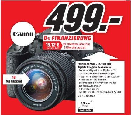 [MM Holzminden] Canon EOS 700 D mit Objektiv EF-S 18-55mm 3.5-5.6 IS STM (449 € mit Cashback)