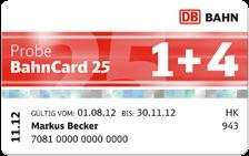 25€ Ab 01.02 Probe BahnCard 25 1+4  25% auch für Mitfahrer