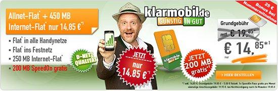 [klarmobil] Allnet Spar-Flat + 450 MB Internet Flat + Rabatt effektiv 14,85 €/Monat