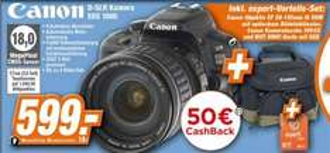 (Offline)Canon Eos 100D+Canon EF 28-135mm f3.5-5.6 IS USM +Kameratasche+Eyfi 8GB SDHC Karte für 599,-€@Expert Technikmarkt