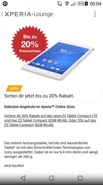 [Für Xperia Besitzer]Sony Xperia Z3 Compact Tablet 32 GB WLAN, 343,20 Euro im Sony Store