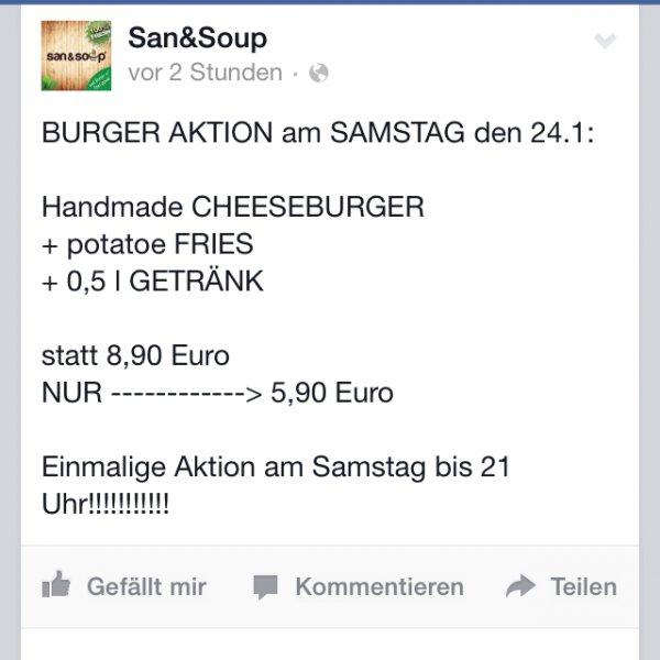 [Stuttgart - San&Soup] Handmade Burger Menü für 5,90€
