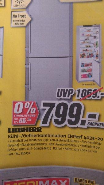 [LOKAL] Medimax Stralsund (evt. bundesweit), Kühl- / Gefrierkombination LIEBHERR CNPesf 4033-20 A+++, No Frost / 799,00 Euro / Vergleichspreise bei Idealo ab 945,00 incl. Lieferung