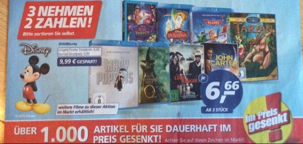 Real Disney Blu-Ray Aktion 3 nehmen 2 bezahlen 6,66€