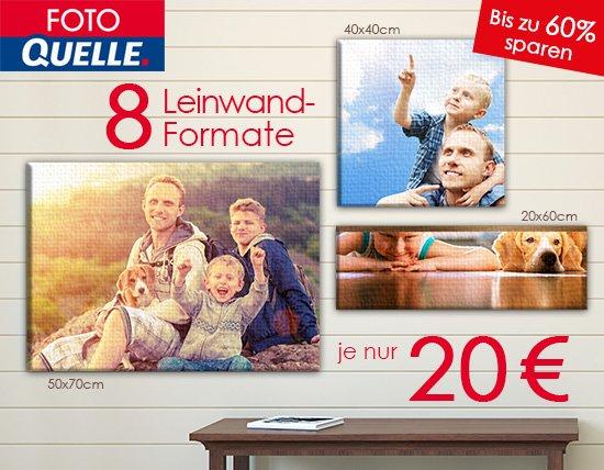 Foto-Leinwände bei Foto Quelle für 20€ +0,95€ VSK z.B. 30cmx80cm mit 60% Rabatt
