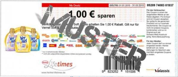 [KW 5] Rossmann Vernel Weichspüler 28 WL für 99 cent für 3 Vernel produkte mit Coupon 0,66€/Stück