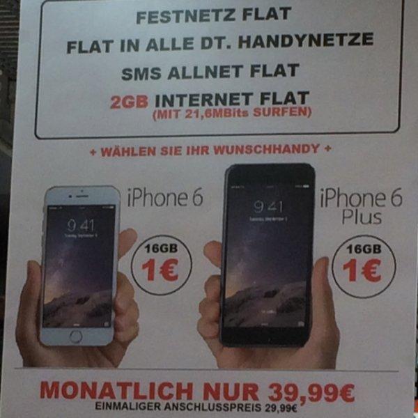 [Vertrag] iPhone 6 oder 6 Plus 16 GB für 1€