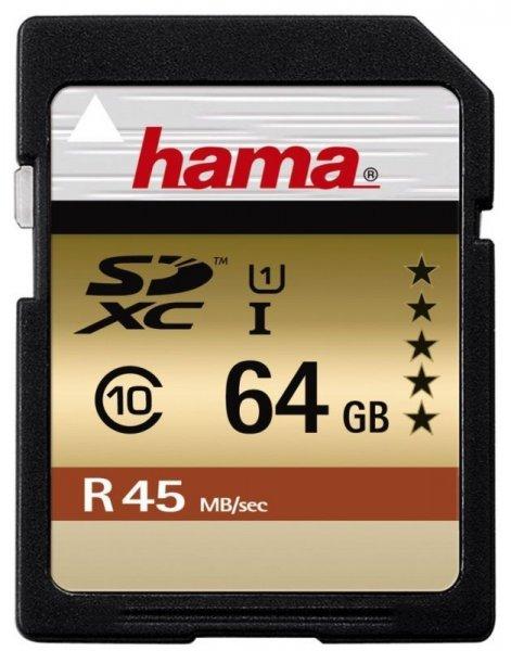 Hama SDXC 64GB Class 10 UHS-I 45MB/s Karte inkl. Vsk für 21,80 € > [foto-köster.de]