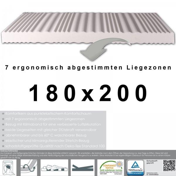 (Wieder verfügbar) 7 Zonen Matratze, Liegezonen ergonomisch, 180 x 200 cm