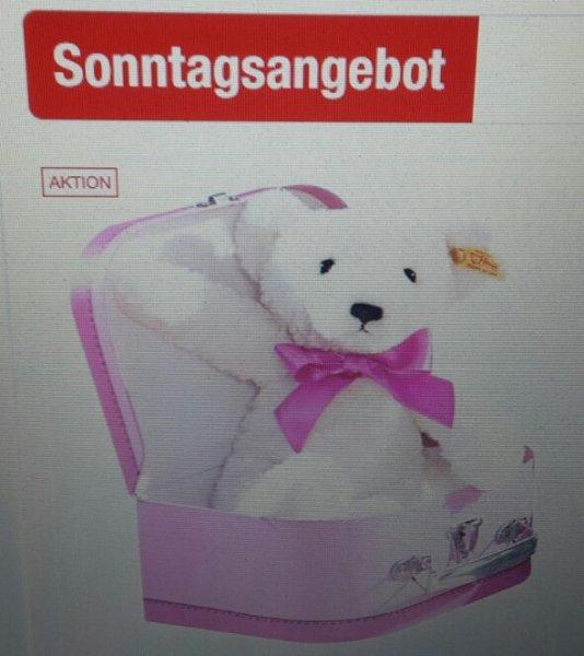 Steiff Teddybär mit rosa Schleife im Koffer (für Payback Kunden evtl. nur 22,67)