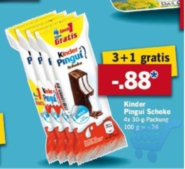 LIDL Kinder Pingui 3+1 Gratis 88 Cent