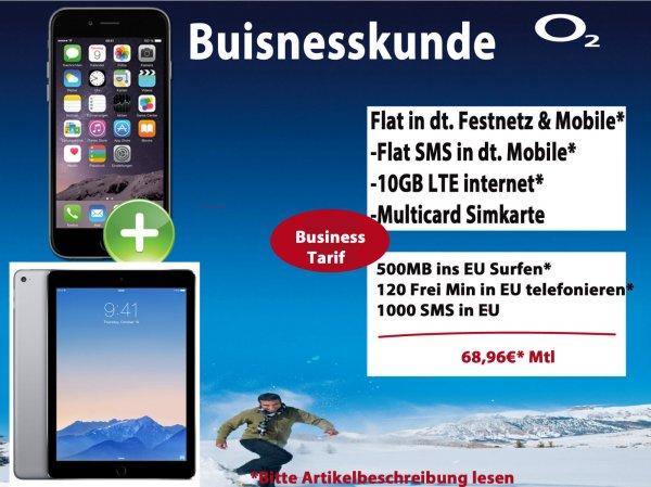 Apple iphone 6 64GB+Ipad Air 2 64GB+4G+o2 on Business XL – (Geschäftskunden-Tarif) – Allnet-Flat / SMS-Flat / 10 GB  LTE /120 Freimin. von Dt. ins Ausland +EU,USA Flat