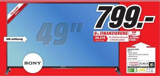 [Lokal] SONY KD49X8505 TVC 49 LED UHD 3D SMART 200HZ für 799,-@Mediamarkt Porta Westfalica