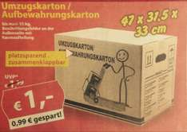 (Lokal Ehrenfriedersdorf) Umzugskartons 1€ statt 1,99€, Sonderpreis-Baumarkt