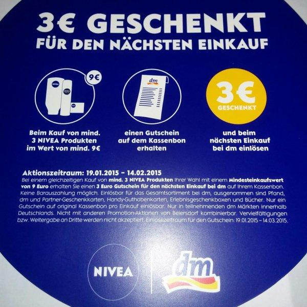 [offline/bundesweit?] 3 EUR Cashback bei dm bei Kauf von 9 EUR Nivea-Produkten (Coupon auf Kassenbon)