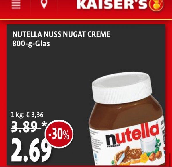 [Kaisers / Tengelmann] Nutella 800g ( + 80g gratis in 2 Filialen gesichtet )