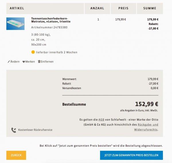 Tonnentaschenfederkern-Matratze, »Lotus«, Irisette 152,99€