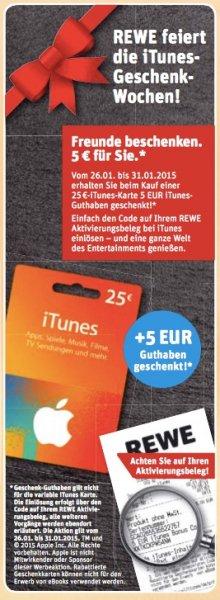 [Offline] Ab heute bei Rewe! 25€ Itunes Karte kaufen und zusätzlich 5€ Guthaben bei Aktivierung geschenkt bekommen