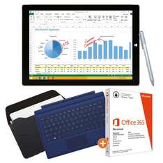 "Microsoft Surface Pro 3 64 GB inkl. Surface Pro 3 Type Cover blau, Maroo Tabletsleeve ""Woodland"" & MS Office 365 Personal"