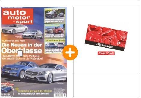 """Halbjahres Abo von """"Auto Motor Sport""""  für effektiv 11,35€ durch 40€ Mediamarkt Gutschein Prämie"""