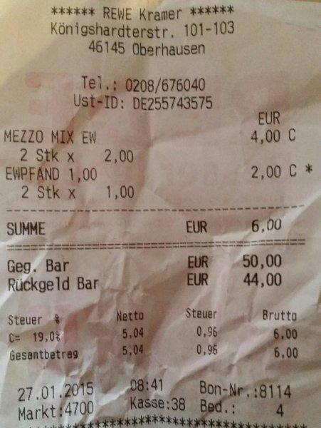 4 * 1,5L Mezzo Mix/Fanta zzgl Pfand Rewe (Oberhausen Lokal?)