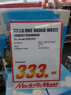 ( lokal Media Markt Düsseldorf Bilk) Microsoft Xbox One 500GB (weiß) + Sunset Overdrive Bundle