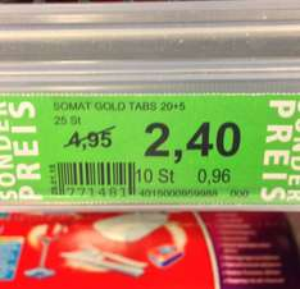 Somat Gold Tabs 20+5 Stück für 1,40€ @ Rossmann (Kombination aus Green Label + Coupon)