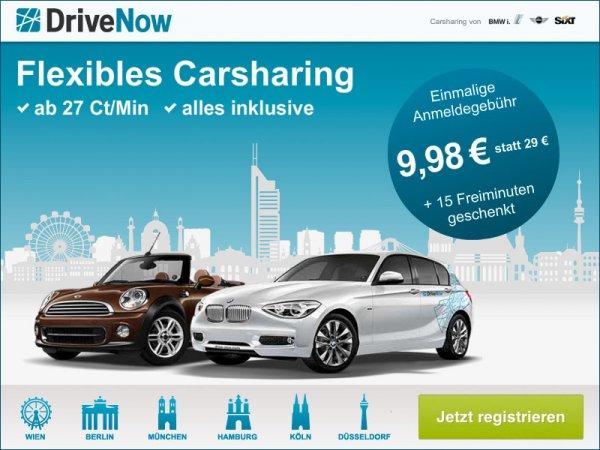 Drivenow Anmeldegebühr nur 9.98€ statt 29€